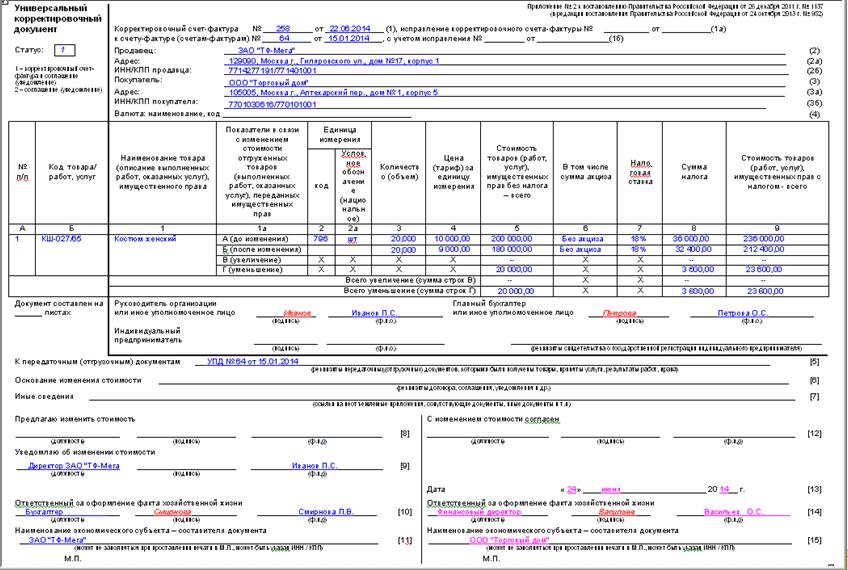 Универсальный Передаточный Документ 2015 образец